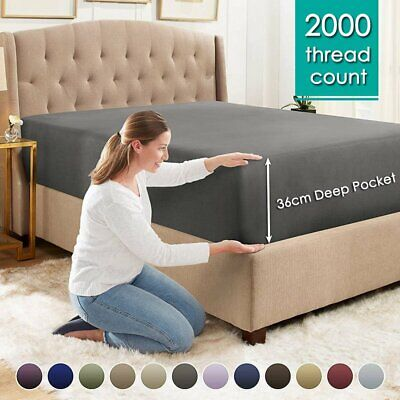 AU25.99 • Buy 2000TC Ultra Soft Extra Deep Fitted Sheet Single/Double/Queen/King Bed Luxury AU