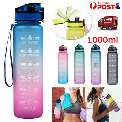 AU19.68 • Buy 1L Water Bottle Motivational Drink Flask With Time Markings Fitness Sport Gym AU