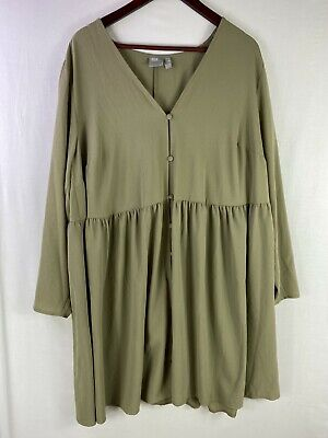 AU25.99 • Buy ASOS Size 20 Womens Brown Casual Button Up Long Sleeves Trapeze Dress V-Neck