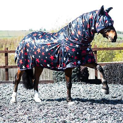 £29.99 • Buy Horse Pony Fly Sheet Rugs Lite Combo Belly Tail Cover Mask White Red Star