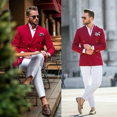 $53.79 • Buy Red Men Suits Double Breasted Tuxedo Party Prom Casual Business Blazer Custom