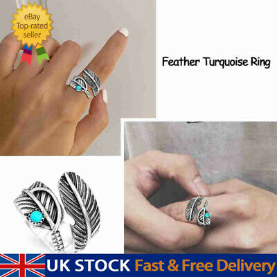 £4.37 • Buy 2021 Silver Turquoise Feather Ring Band Open Finger Fully Adjustable Jewelry UK