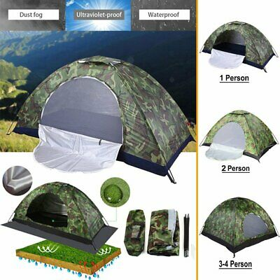 AU17.99 • Buy Outdoor 1-4 Person Camping Tent Hiking Travel Waterproof Folding Camouflage Tent