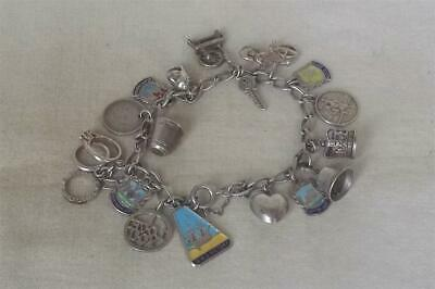 £72 • Buy A Fine Vintage Solid Sterling Silver Charm Bracelet With 18 Vintage Charms.
