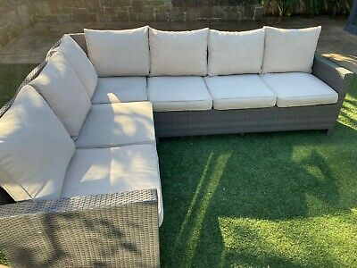 AU395 • Buy Outdoor Furniture 2 Modula 3 Seater Grey Wicker Couches - Very Good Condition