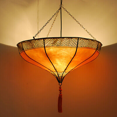 £62.32 • Buy Oriental Hanging Light Leather Lamp Moroccan Ceiling Light Roumia Orange