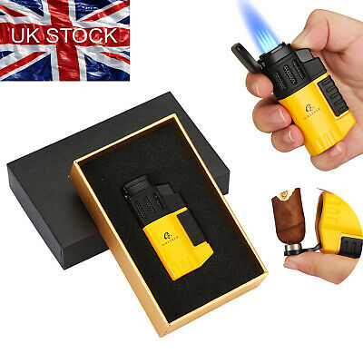 £13.99 • Buy Galiner Windproof Refillable Cigar Lighter Punch 4 Jet Flame Torch Gift Yellow