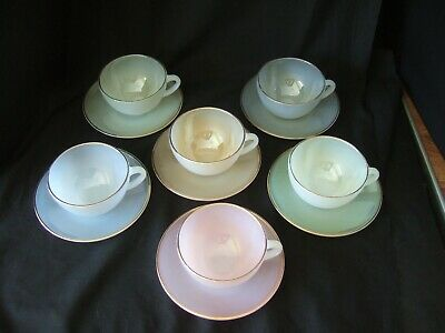 £39.99 • Buy Set Of 6 Arcopal France Harlequin Opalescent Tea Cups And Saucers Pastel
