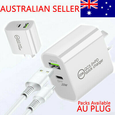 AU13.99 • Buy USB C Wall Adapter PD Fast Charger Type C AU Plug For IPhone 12 11 Android
