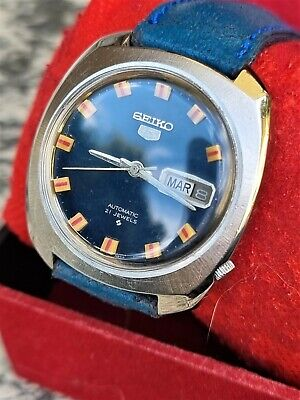 $ CDN102.16 • Buy Vintage Seiko 5 Blue Dial Inox  Cal. 6119  Automatic - Working Well