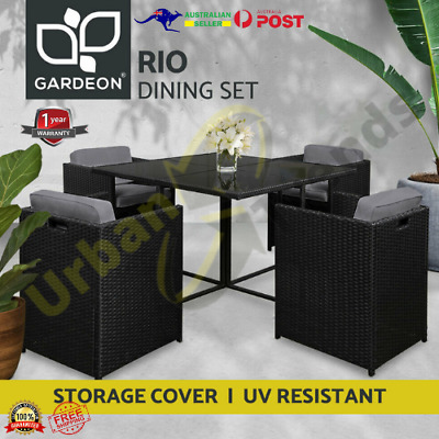 AU565.33 • Buy Gardeon 5 PCE Outdoor Furniture Dining Set Table And Chairs Patio Wicker Garden