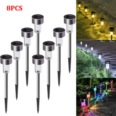 £6.99 • Buy 8x Solar Powered Stainless Steel Led Post Stake Lights Outdoor Garden Patio UK
