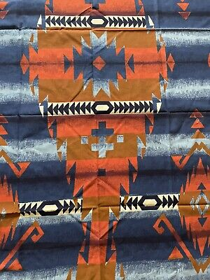 £10.50 • Buy Vintage Blue Brown Aztec Southwest Style Print Material Fabric Sewing Quilting