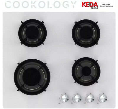 £104.99 • Buy Cookology White Gas On Glass Hob GGH605WH 60cm Built-in & Cast Iron Pan Supports