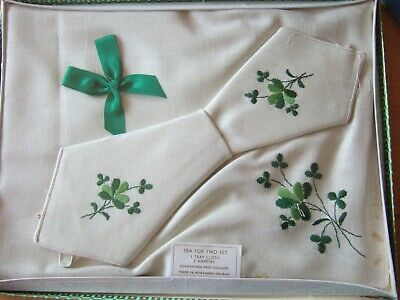 £3.50 • Buy Vintage Irish Embroidered Tray Cloth & 2 Napkins Tea For Two Set In Original Box