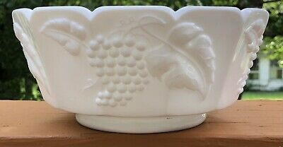 $5 • Buy Antique American Milk White Pattern Glass Footed Grape & Leaf Round Panel Bowl