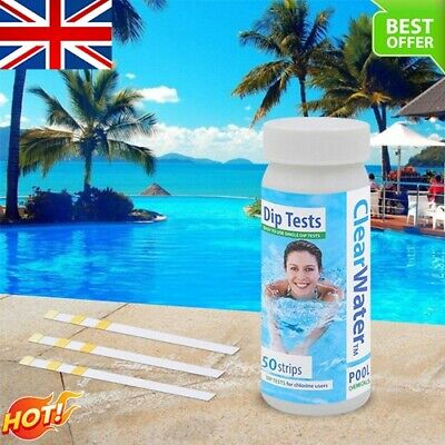 £6.99 • Buy 50 Pcs Chlorine Dip Test Strips For Hot Tub Lazy Spa And Swimming Pool UK FAST