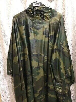 $55 • Buy US Military Issued 1999 Orc Industries Wet Weather Poncho, Woodland Camo Pattern