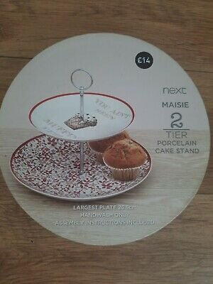 £7.99 • Buy Next Maise Two Tier Cake Stand, Porcelain,Largest  Plate 26.5cm  Unwanted Gift