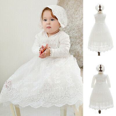 £19.99 • Buy Baby Girls Christening Dress Bonnet Embroidery Lace Baptism Gown Flower Girl