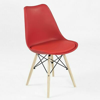 £23.45 • Buy REBOXED X2 Padded Modern Kitchen Dining Chairs Solid Beech Wood Legs Red
