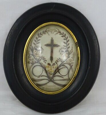 AU369.59 • Buy Antique French Victorian Mourning Hair Art Convex Glass Frame Reliquary 1896