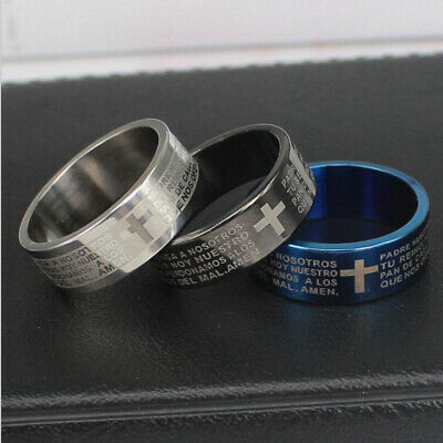 $1.03 • Buy Stainless Steel Cross Ring Polished Comfort Fit Men's & Women's Wedding Band