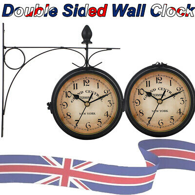 £13.98 • Buy Outdoor Garden Gentral Station Wall Clock Rotate Double Sided Bracket Vintage CA