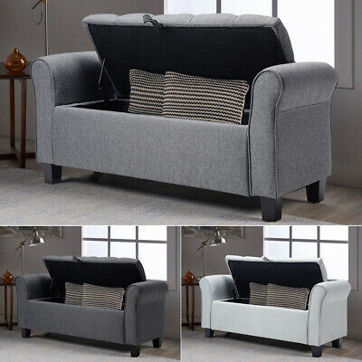 £142.95 • Buy Linen Chaise Lounge Chair Window Seat Ottoman Bed End Bench Blanket Storage Box