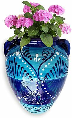 £24.99 • Buy Hand-Painted Ceramic Wall Flower Pot With Drainage Hole Planter Flower 19x15cm