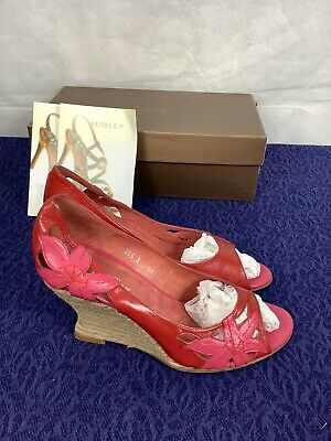 £14.99 • Buy Audley London Red Wedges 5 Heels Peep Toe Great Condition Boxed