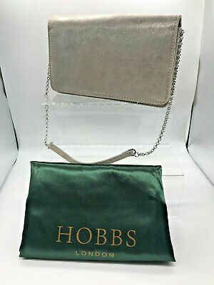 £7 • Buy Ladies Silver/Bronze Leather Hobbs Clutch Bag With Chain Strap (SG140F) GA