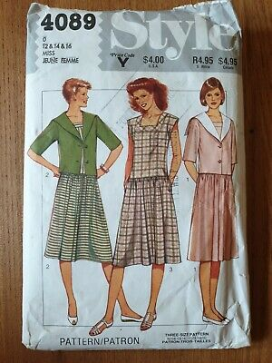 £4.95 • Buy Style 4089 Ladies Square Neck Summer Dress Sailor Collar Jacket Sewing Pattern