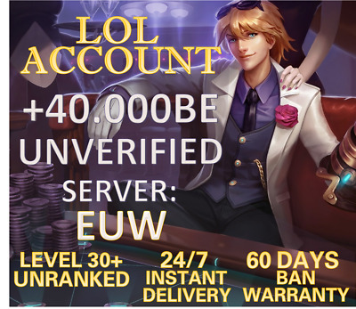 £1.58 • Buy EUW League Of Legends LOL Account 40.000- 65.000+ BE IP Level 30+ Smurf Unranked