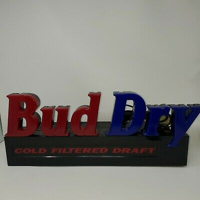 $ CDN188.83 • Buy Vintage Bud Dry Draft Beer Neon Sign Light Man Cave Alcohol Rare 90s Blue & Red