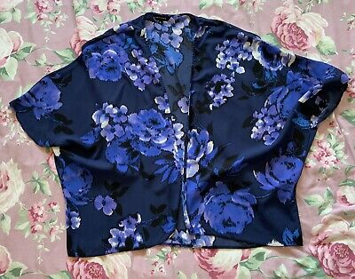 AU1.85 • Buy BNWOT New Look Blue Kimono Kaftan - Satin Floral Summer Holiday Cover Up Size 8