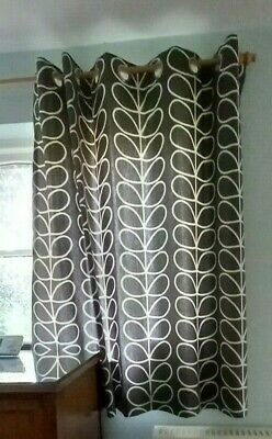 £30 • Buy Orla Kiely Eyelet Curtains In Brown Mocha Colour. Cotton With Cream Interlining