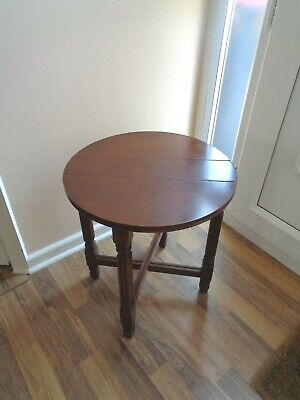 £14.95 • Buy Small Vintage  Wooden Drop Leaf Folding Table Round Top