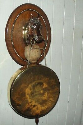 £135 • Buy ANTIQUE LARGE HORSE Head Wall Mounted Dinner Gong And Striker On Oak Board