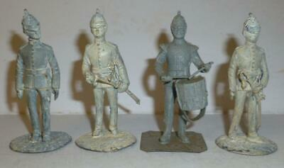 £4.99 • Buy Four Unidentified White Metal Soldiers Finished In Primer - Well Detailed