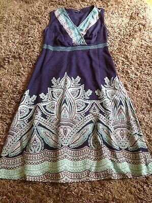 AU9.32 • Buy Navy Blue /green Indian Print Summer Cotton Sleeveless Dress By Maine Size 12