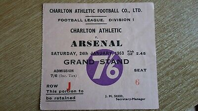£21 • Buy MATCH TICKET CHARLTON ATHLETIC V ARSENAL 1952-53 DIVISION 1 VERY GOOD CONDITION