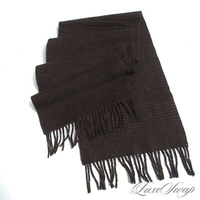 $9.99 • Buy Anonymous Made In Germany 100% PURE Cashmere Brown Plaid Flannel Scarf Muffler