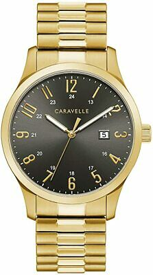 $6.50 • Buy Bulova $100 Men's Gold Black Dial Expansion Band Watch, Date Caravelle 44b126