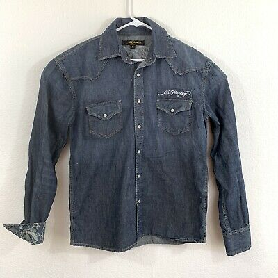 $49.45 • Buy Ed Hardy Mens Blue Western Embroidered Skull Denim Pearl Snap Shirt Large L