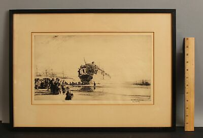 £8.99 • Buy Antique 1916 Signed JAMES MCBEY French WWI Etching Print, The Sussex Ferry Ship