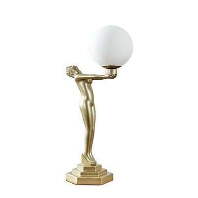 £32.99 • Buy MiniSun Table Lamp - Retro Gold Art Deco Woman Light Frosted Shade LED Bulb A+