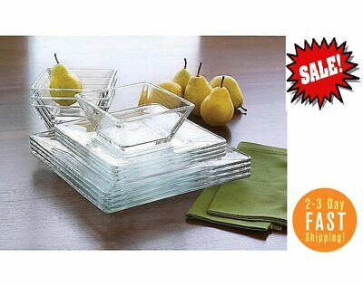 $33.99 • Buy 12-Piece Square Clear Glass Dinnerware Dining Set, Dinner Meal Glassware NEW