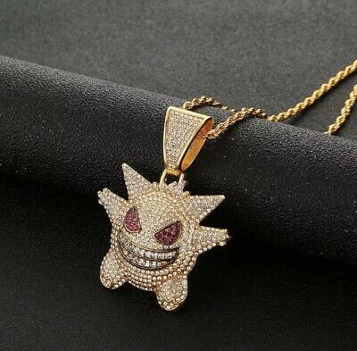 £5 • Buy Iced Diamond Gengar Pokemon Pendant Necklace Chain Bling Out Jewellery