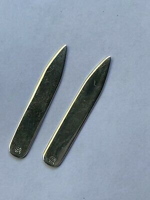 """$75 • Buy Vintage Sterling Silver Collar Stays/Stiffeners 1990s Fully Hallmarked 2 1/4"""""""